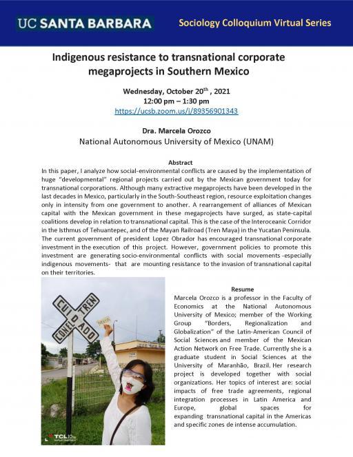 Dr. Marcela Orozco Colloquium Flyer